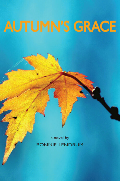 """cover image including bright aquamarine background a featuing a gold maple leaf and the title """"Autumn's Grace"""""""