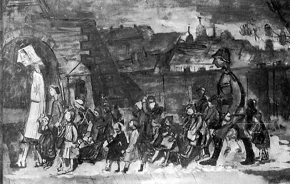 A drawing of children of Ghetto Białystok transported to Terezín in August 1943 by Otto Ungar