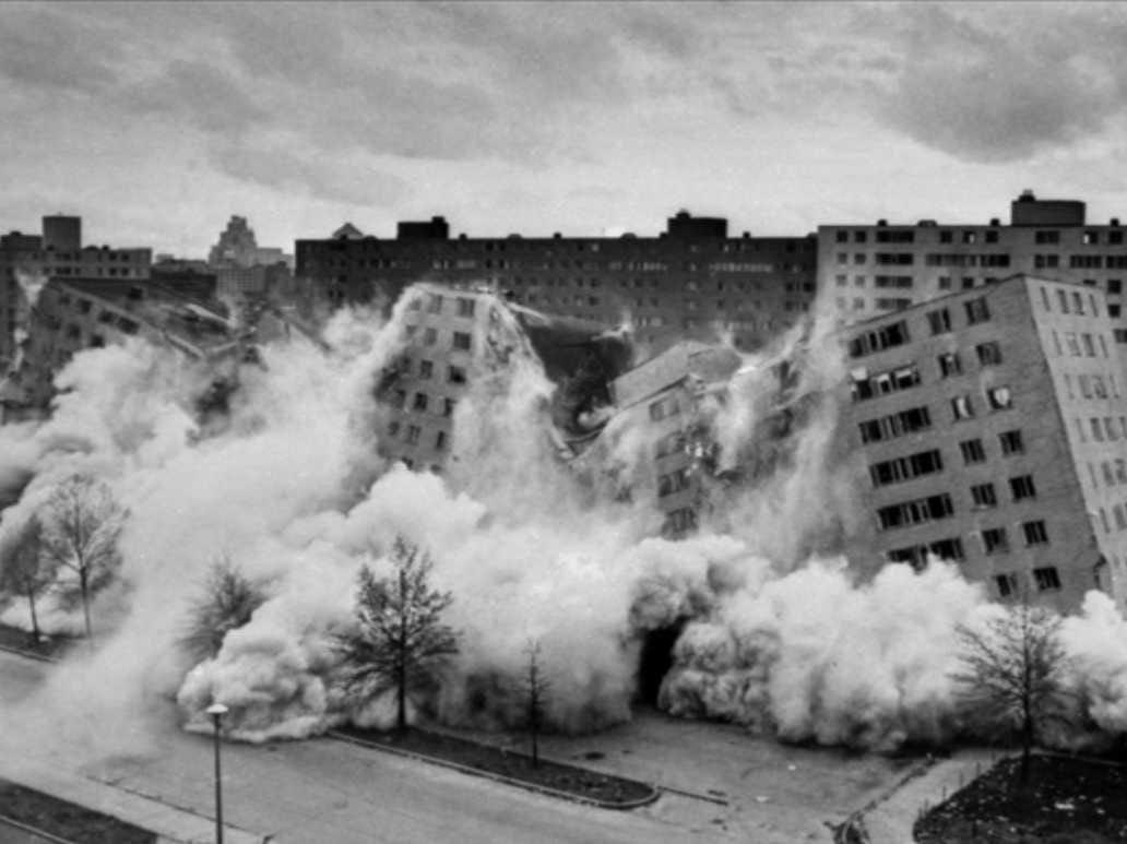 Explosion at Pruitt-Igoe housing project