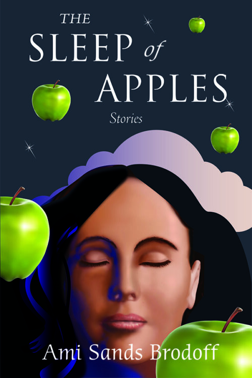 dream-like cover image depicting a woman's face with closed eyes and floating green apples among the clouds