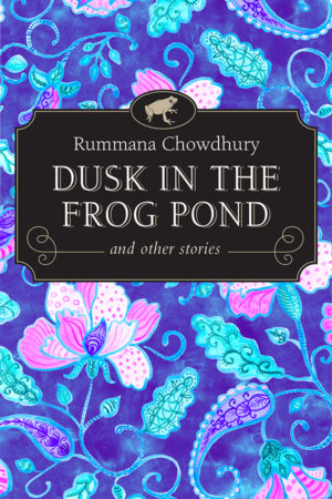 purple and pink flowers encircling the book title Dusk in the Frog Pond